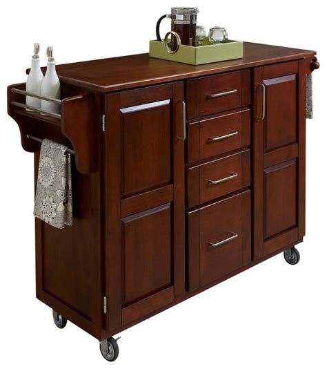 Oak Kitchen Carts And Islands Create A Cart Cherry Finish With Oak Top Transitional