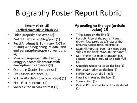 exle biography poster report ppt biography poster report rubric powerpoint