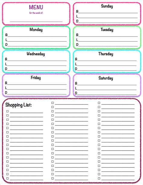 free printable grocery list with menu free printables weekly meal planner grocery list the