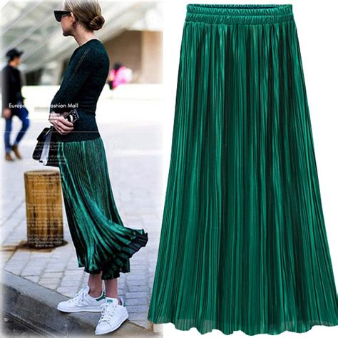 Rok Velvetvelvet Umbrella Skirty silver gold velvet pleated skirt womens vintage high waist