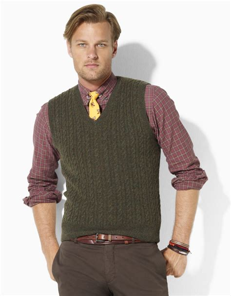 mens cable knit sweater vest polo ralph merino wool cable knit v neck sweater