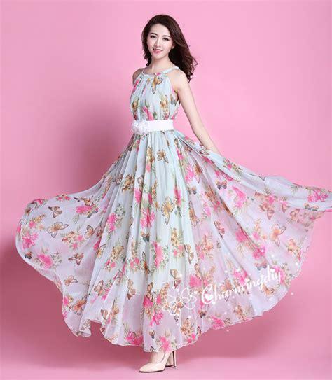 13492 Blue Pink Flower Dress 60 colors chiffon butterfly pink flower evening