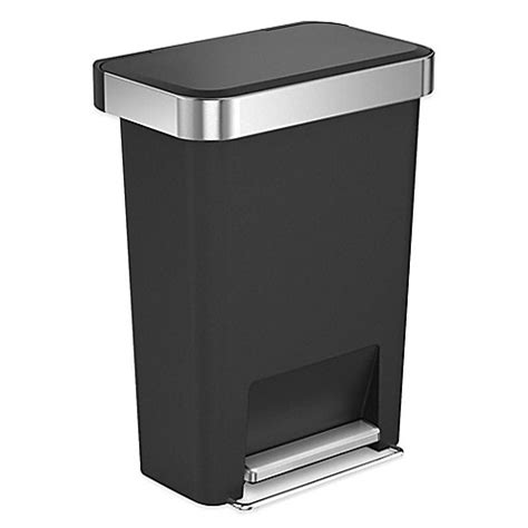 bed bath and beyond simplehuman trash can simplehuman 174 45 liter rectangular step trash can with