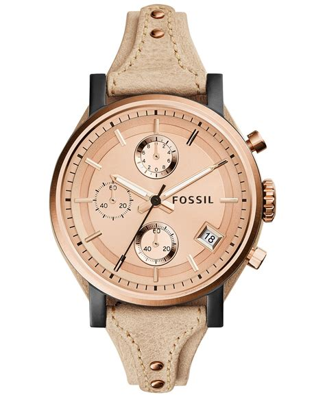Fossil Logan Chronograph Leather Ori fossil s chronograph original boyfriend sand leather 38mm es3786 in pink lyst