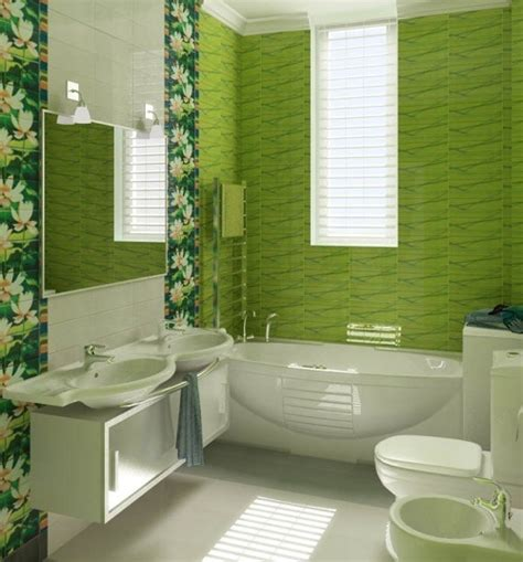 Green Bathroom Tile Ideas | green flower pattern bathroom tile ideas home interiors