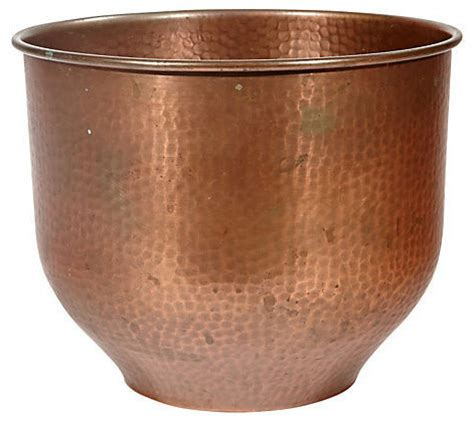 Cache Pots And Planters by Vintage Textured Copper Handmade Cache Pot Indoor Pots