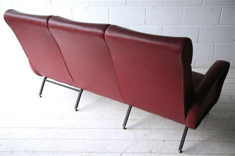 red vinyl sofa 1950s italian red vinyl sofa cream and chrome