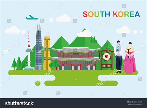 South Korea Address Lookup South Korea Flat Seoul City Skyline Design Stock Vector Illustration 306540797