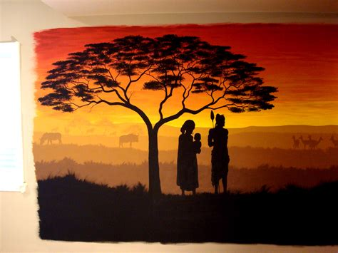 Foyer Room by African Silhouette Mural