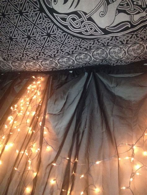 hang sheer curtains  lights   wall  create  mood lighting concept hang  tapestry