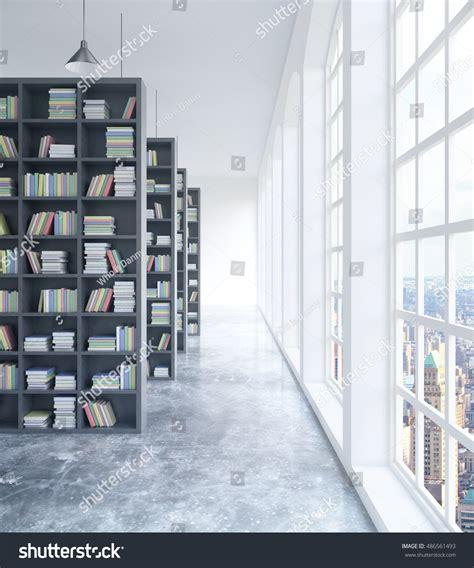 interior book modern concrete library interior book shelves stock illustration 486561493
