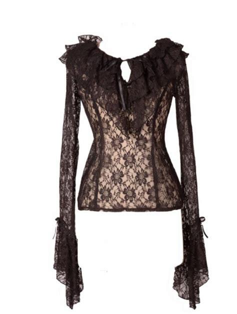 Bloomings Jumbo Ribbon Hitam Blouse black trumpet sleeves lace womens blouse devilnight co uk