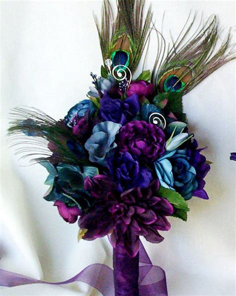 three feathers in blush teal wedding accessories peacock bridal bouquets plum purple