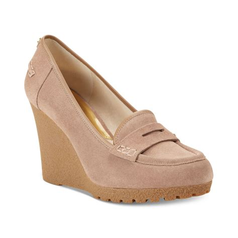 loafer wedge michael kors rory loafer wedge pumps in pink dune