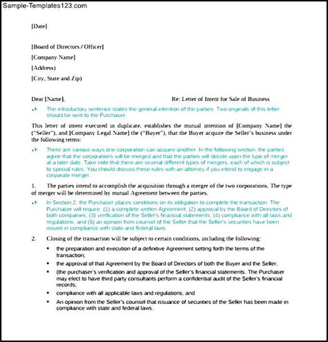 Letter Of Intent Format Pdf Letter Of Intent For Small Business Pdf Format Sle Templates