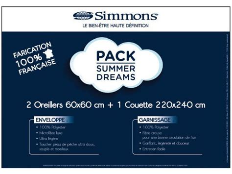 oreillers simmons pack summer dreams 2 oreillers 60x60 1 couette 220x240cm