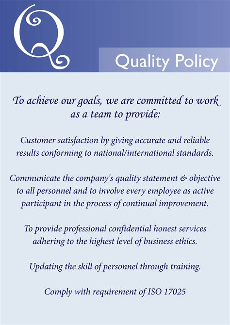 template of quality policy quality policy statement best template collection