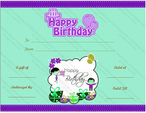 birthday gift card template blue birthday gift certificate gift certificates