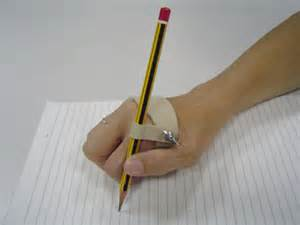 The slip on writing aid is contoured to securely fit the hand the
