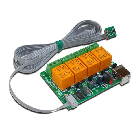 pc usb four 4 relay board with temperature sensor tcn75a