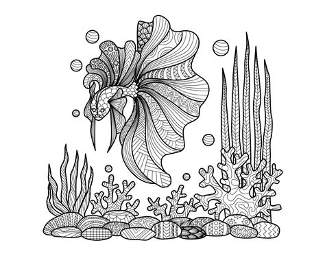 coloring pages of fish for adults free coloring page coloring adult zentangle fish on corals