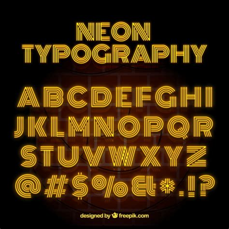 free download neon typography neon typography with yellow letters vector free download