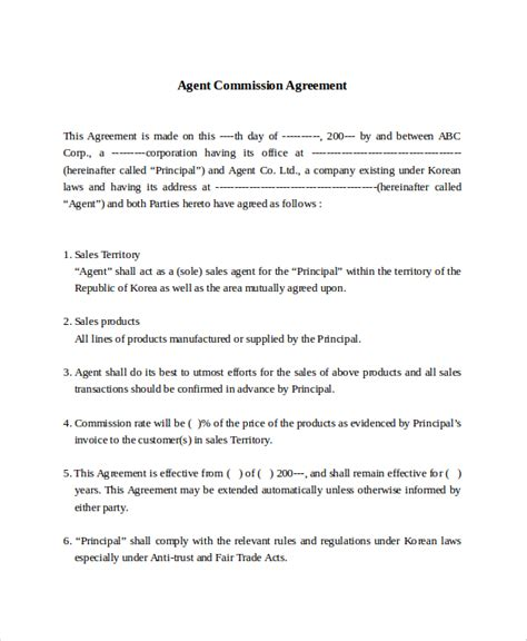 commission agreement template sle commission sales agreement template 8 free