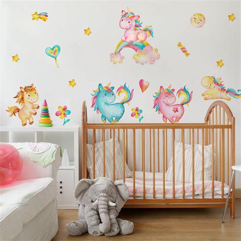 Wandtattoo Kinderzimmer Einhorn by Wandtattoo Einhorn Aquarell Kinderzimmer Set Wandaufkleber