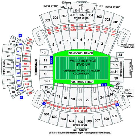 williams brice seating chart williams brice stadium