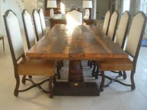 Antique Wood Dining Table Reclaimed Antique Wood Dining Table With Turned Trestle Base Transitional Dining Tables