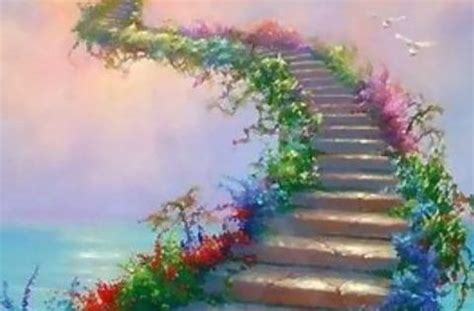 steps  heaven   flowers   majestic sky  dove    holy spirit dwell
