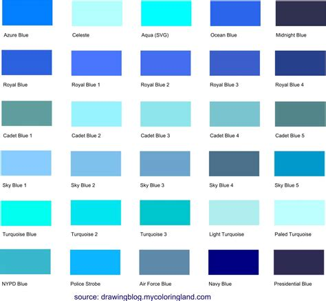 code color different shades of blue a list with color names and