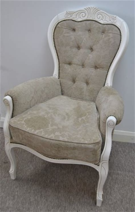 feature armchairs beige and pale mocha flock votive carved large feature