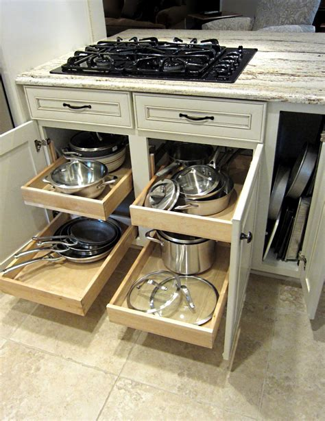 pull  drawers  stove  pots  pans small