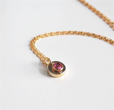pink swarovski channel drop pendant necklace wedding