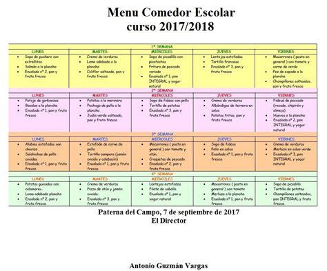 menu comedor escolar 218 comedor escolar 2017 2018 c e i p quot s 193 nchez arjona quot