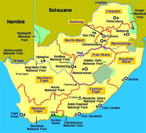 south africa map detailed map of south africa its provinces and its major