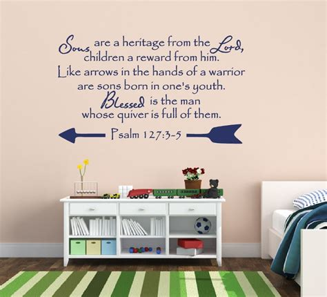 Christian Bible Verse Vinyl Wall Decal Psalm 127 Sons Bible Scripture Wall Decals For Nursery