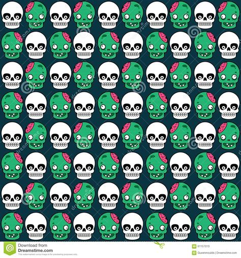 cute zombie pattern cute halloween pattern with skull and zombie stock vector
