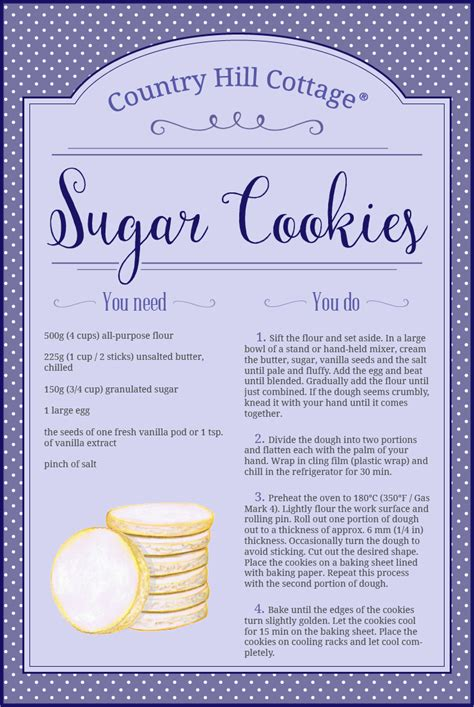 printable recipes for sugar cookies simple sugar cookies country hill cottage