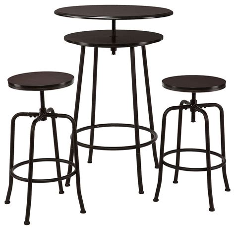 industrial dining table set kalomar 3 adjustable pub table stools espresso