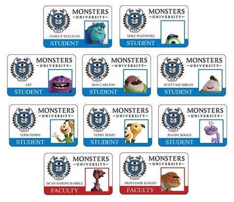 monsters student card template monsters all new student faculty id cards