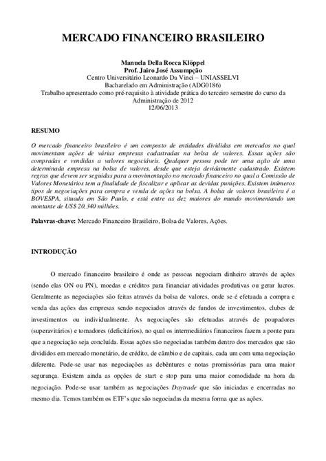 Mercado financeiro brasileiro Artigo
