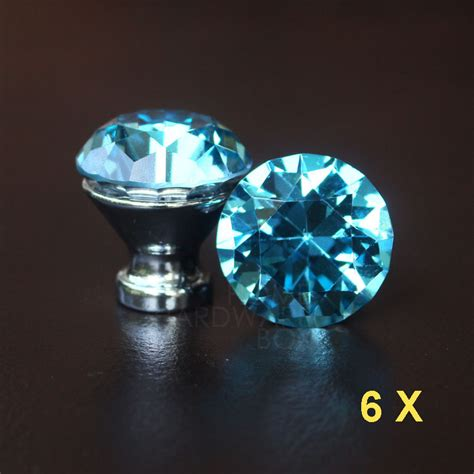 blue crystal cabinet knobs blue crystal knobs 30mm cabinet handle pull glass
