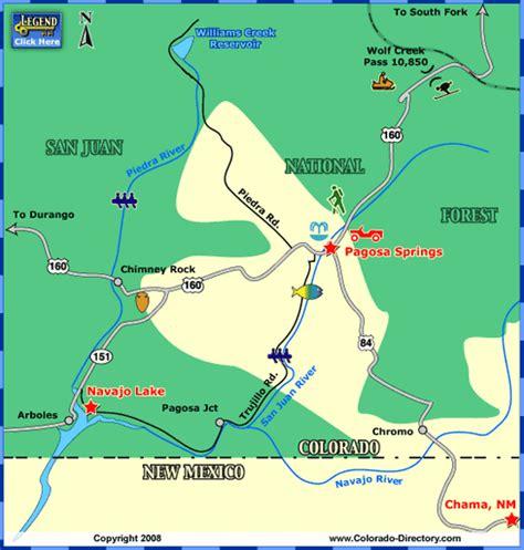 map of colorado pagosa springs pagosa springs local area map colorado vacation directory