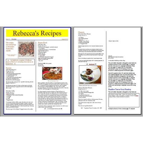 recipe layout template tips for creating a recipe newsletter or cooking phlet