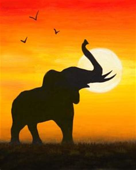 paint with a twist orange park elephants a acacia tree at sunset for the of