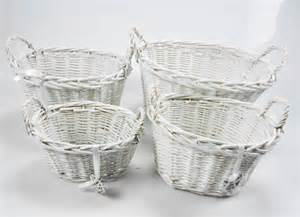 shabby chic storage baskets oval rectangl white shabby chic wicker kitchen