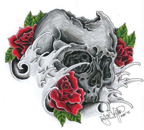 roses and skull tattoo juragan skull tattoos skull galery