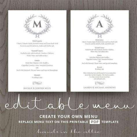 Menu Design Vorlagen die besten 17 ideen zu wedding menu template auf